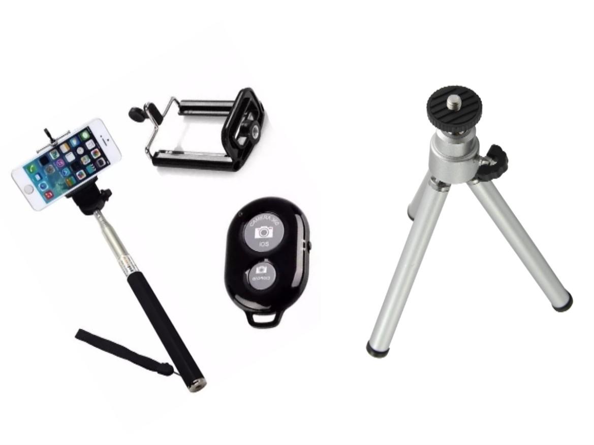 Kit Youtuber 4x1 - Mini Tripé  + Bastão  Selfie + Suporte Universal Para Celular +  Controle