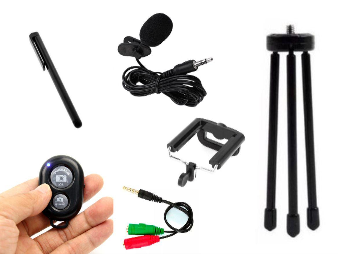 Kit Youtuber 6x1 - Mini Tripé Flexível com Suporte + Controle +  Caneta Touch + Microfone de Lapela