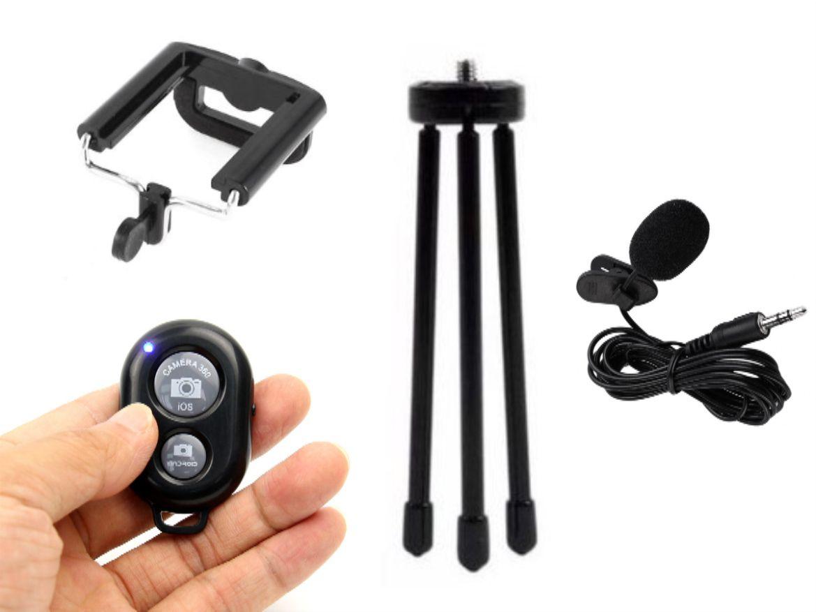 Kit Youtuber 4x1 - Mini Tripé + Mic De Lapela + Suporte  Celular + Controle Bluetooth