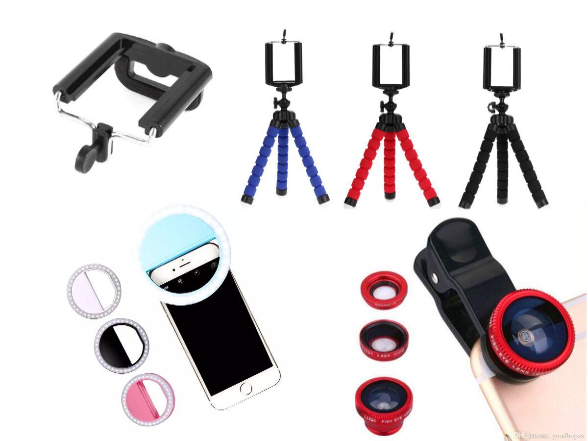 Kit youtuber 4x1 -  Mini Tripé Octopus + Suporte Celular + Conj Lentes 3x1 + Led Ring
