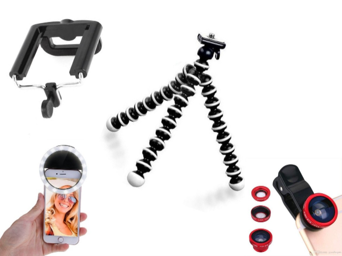 Kit youtuber 4x1 -   Tripé Octopus + Suporte Celular + Conjunto Lentes + Led Ring