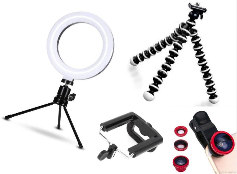 Kit youtuber 4x1 -   Tripé Octopus + Suporte Celular + Conjunto Lentes + Led Ring