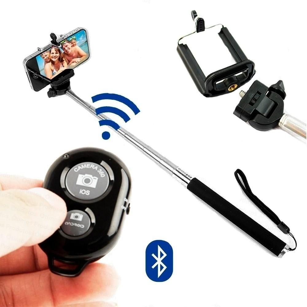 Kit Youtuber 5x1 -  Mini Tripe + Bastão Monopod + Controle Bluetooth + Suporte + Microfone Lapela