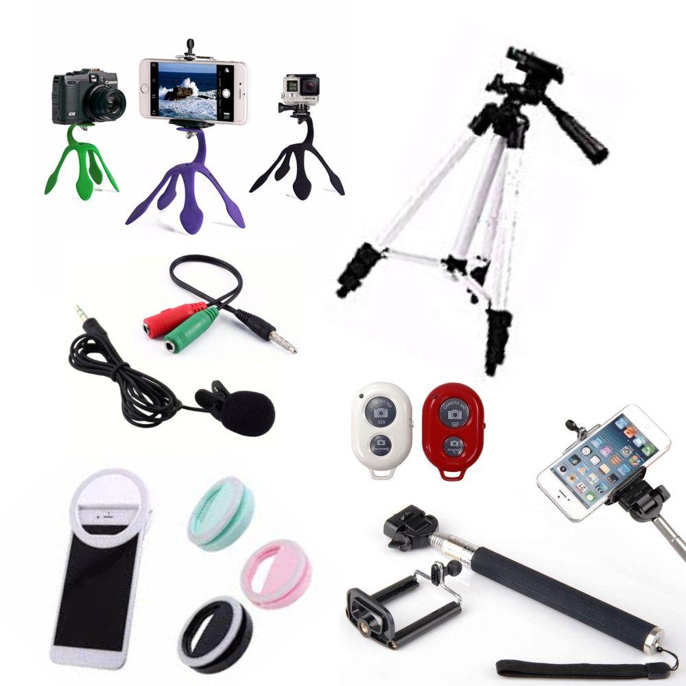 Kit Youtuber 7x1 - Bastão + Controle + Suporte + LED Ring + Mini Tripé Gekkopod + Tripé 1,20 Metro