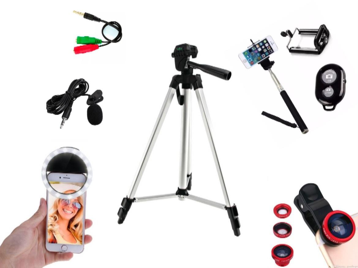 Kit Youtuber 7x1 - Tripé 1,20m +, Bastão Selfie + Suporte Celular + Controle + Microfone de Lapela com Adaptador + Kit de Lentes + Flash LED