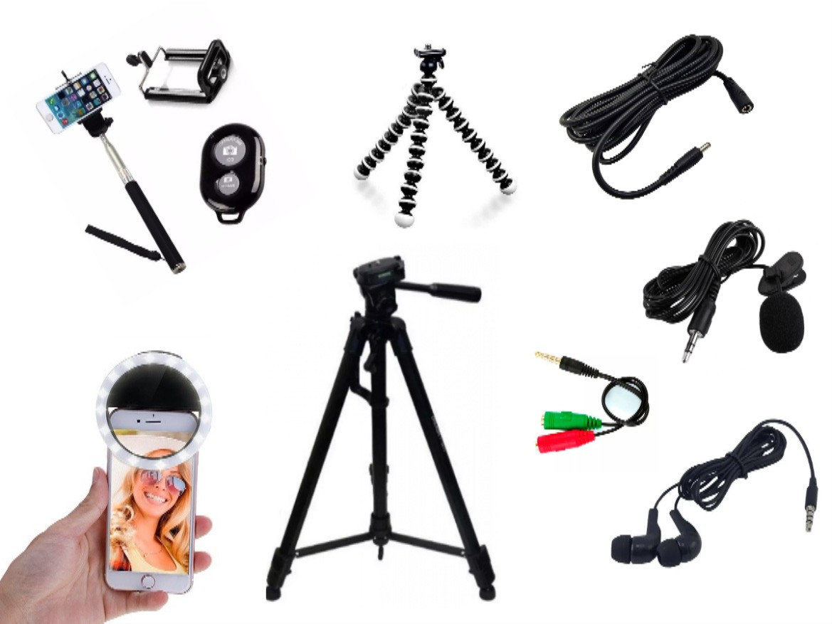 Kit Youtuber 7x1 - Tripé 1,30m + Sup Celular + Microfone Lapela com Adaptador + Ring LED Flash