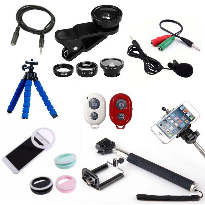 Kit Youtuber 7x1 - Tripé 1,30m + Suporte Celular + Microfone Lapela com Adaptador + Ring LED Flash + Extensão P2 3 Metros + Kit Lentes 3x1 + Mini Tripé Flexível + Brinde