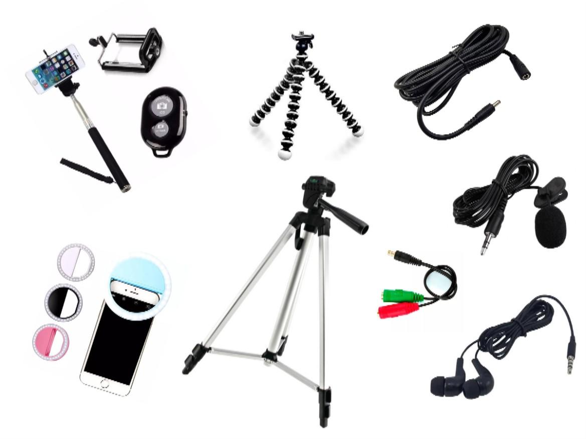 Kit Youtuber 7x1 - Tripé 1,30m + Suporte Celular + Microfone Lapela com Adaptador + Ring LED Flash + Extensão P2 3 Metros + Fone de ouvido + Mini Tripé Flexível + Brinde