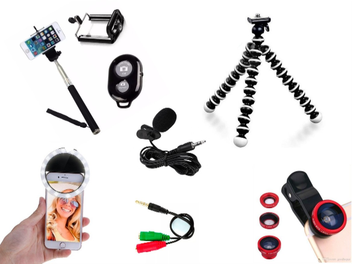 Kit Youtuber 7x1 - Tripé Flexível + Bastão Selfie + Suporte Celular + Controle Bluetooth + Microfone de Lapela com Adaptador +  Kit de Lentes 3x1 + Flash Ring LED