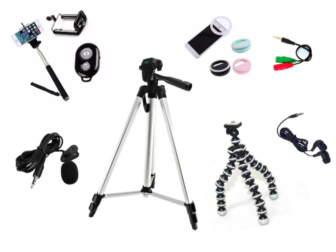Kit Youtuber 8x1 - Microfone Lapela + Ring  LED Flash + Tripé 1,50m + tripé octopus + Adaptador P2 + Fone de ouvido + Controle Bluetooth
