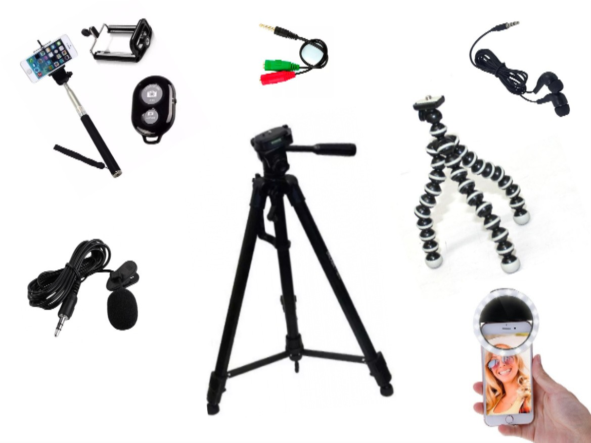 Kit Youtuber 8x1 - Microfone Lapela + Ring  LED Flash + Tripé 1,50m + tripé octopus + Adaptador P2 + Fone de ouvido + Controle Bluetooth