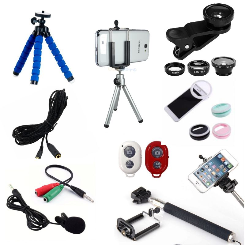 Kit Youtuber 9x1 - Microfone Lapela + Led Flash + Mini Tripé Alumínio + Mini Tripé Flexível + Kit Lentes 3x1 + Cabo Extensão P2 3 Metros
