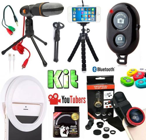 Kit Youtuber Tripé 14x1 Profissional Lapela Celular + Ring Light