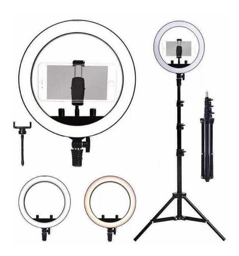 Kit Youtuber 7x1 -Tripé Lapela Celular + Luz Iluminador Ring Light