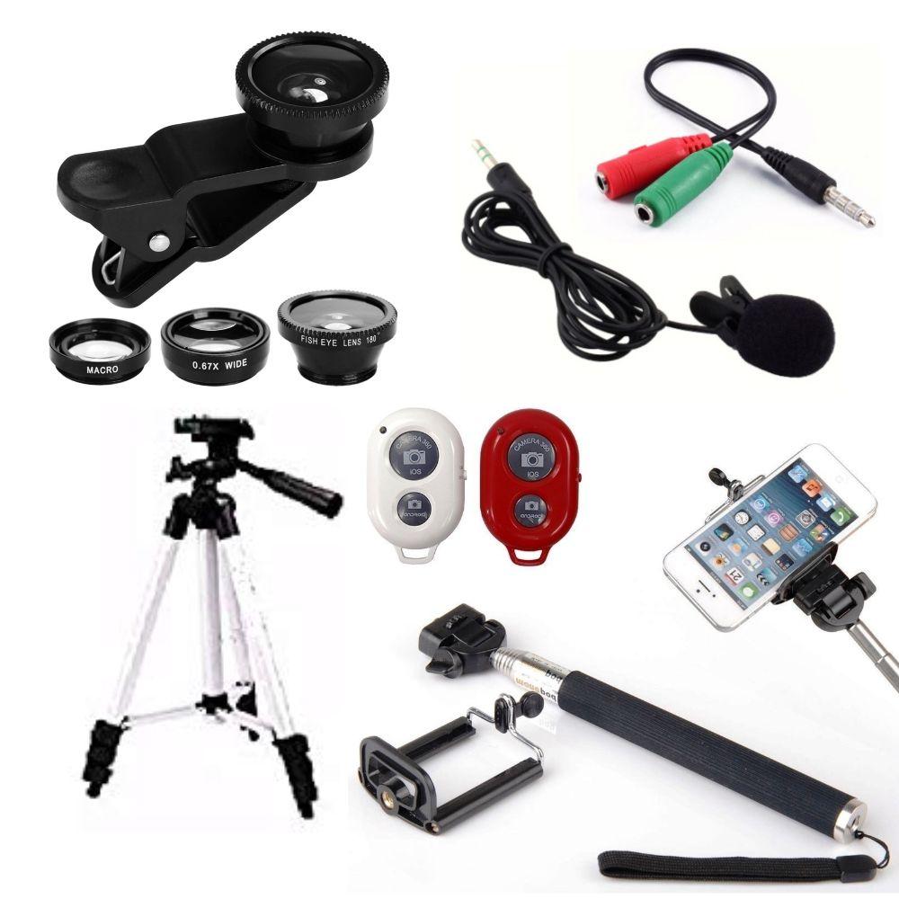 Kit Youtuber 6x1 - Bastão Selfie, + Suporte Celular + Controle + Microfone Lapela com Adaptador + Tripé 1,20m + Conj. Lentes 3x1