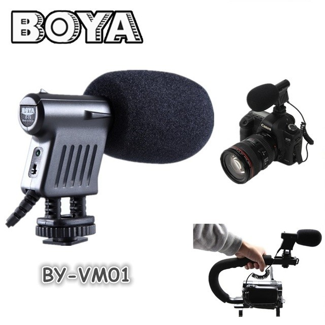 Microfone Direcional Boya Original BY-VM01 Shotgun Para Câmeras DSLR