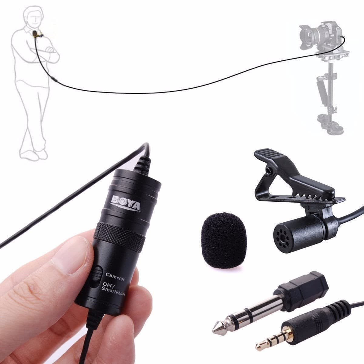 Microfone Lapela Boya BY-M1 Original Cabo 6m + Bolsa p/ Câmeras e Smartphone - Preto