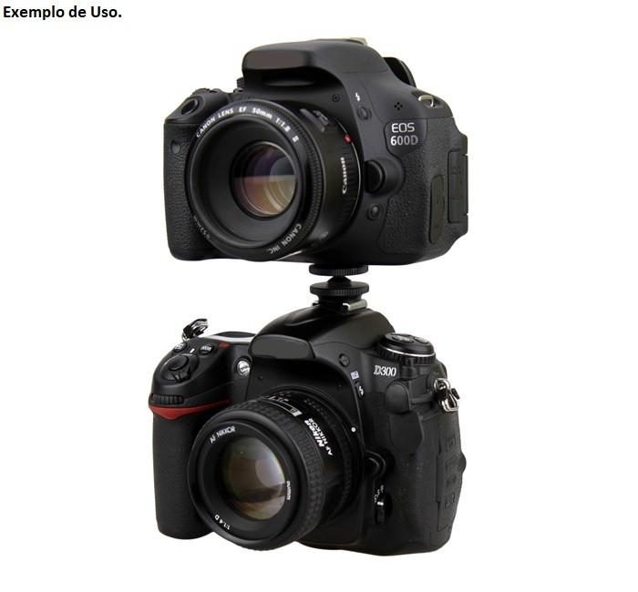 Parafuso Adaptador 1/4 Duplo Para Sapata Montagem Duas Câmeras, GoPro, LED, etc