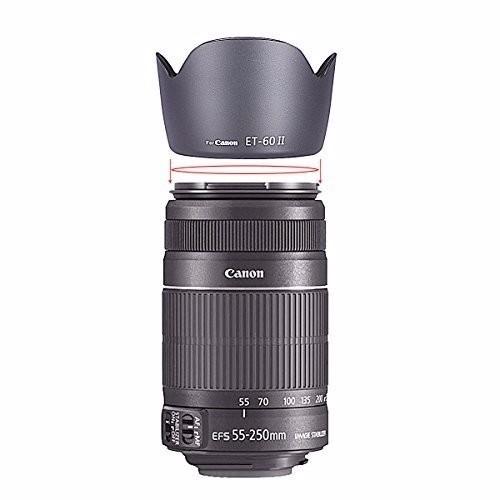 Parasol Et-60 Ii para Lente Canon  EF 55-250MM f/4-5.6 USM   EF 75-300MM f/4-5.6   EF 75-300MM f/4-5.6 II USM   EF 75-300MM f/4-5.6 II   EF 75-300MM f/4-5.6 III USM   EF 75-300MM f/4-5.6 III   EF