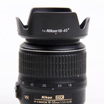 Parasol Nikon Hb-45 II para lentes AF-S DX 18-55mm f/3.5-5.6G VR  AF-S DX 18-55mm f/3.5-5.6G ED II Nikon 18-55mm f/3.5-5.6 G AF-S