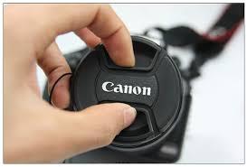 Tampa frontal com logo Canon para lente 52mm