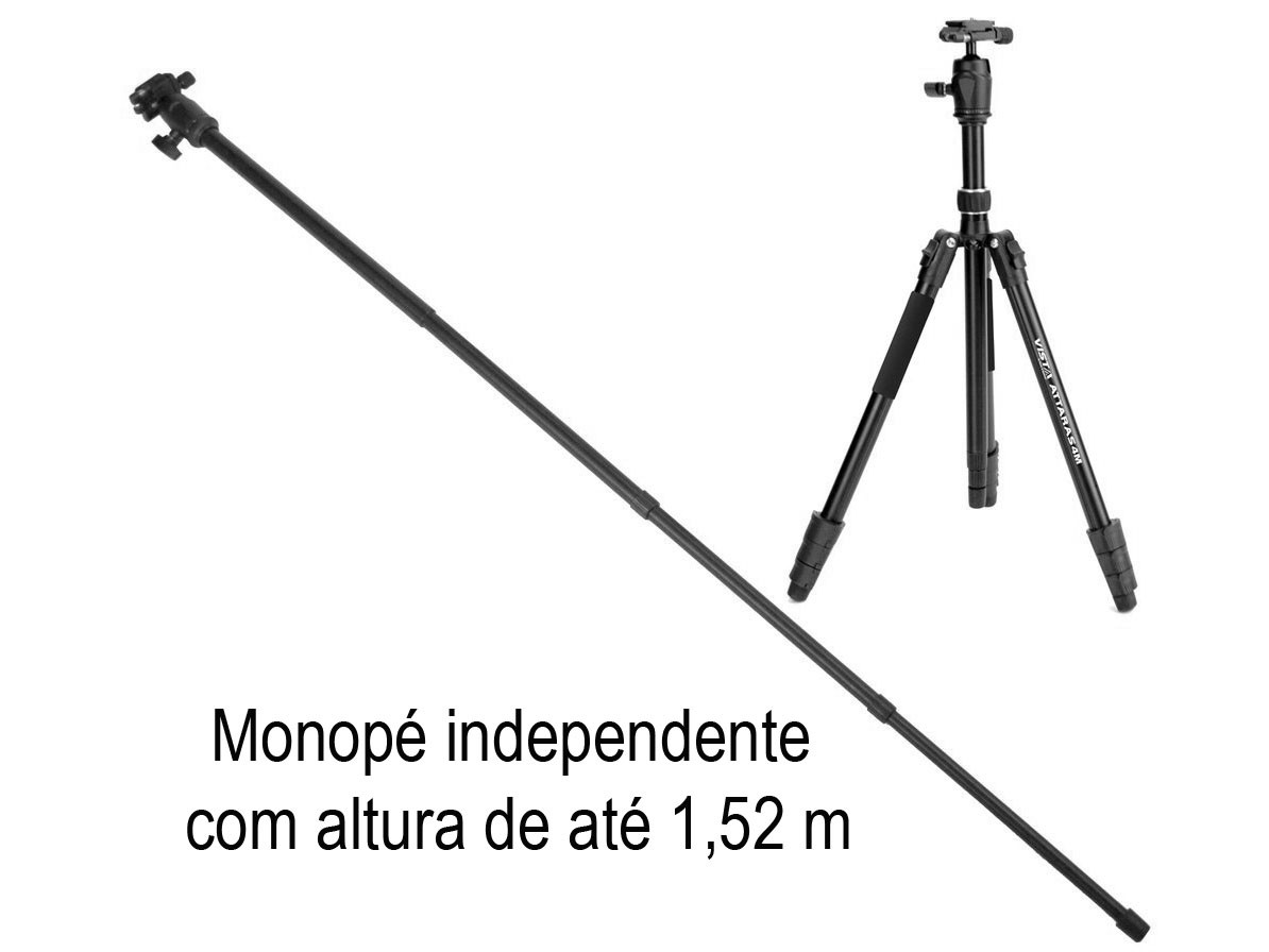 Tripé em Alumínio Vista Vira Monopé ATTARAS4M altura até 173cm 1,73m