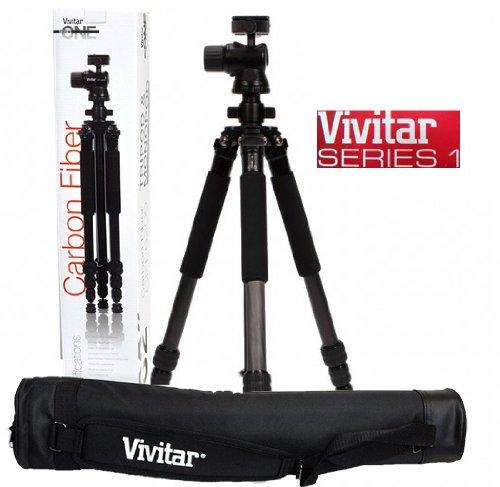 Tripé Fotográfico Profissional Fibra de Carbono Vivitar VIVCFT6200 até 1,57m suporta até 9,07 Kg