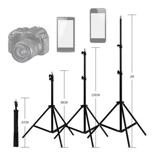 Tripé Profissional 2,10m Câmera Celular Pedestal Ring Light