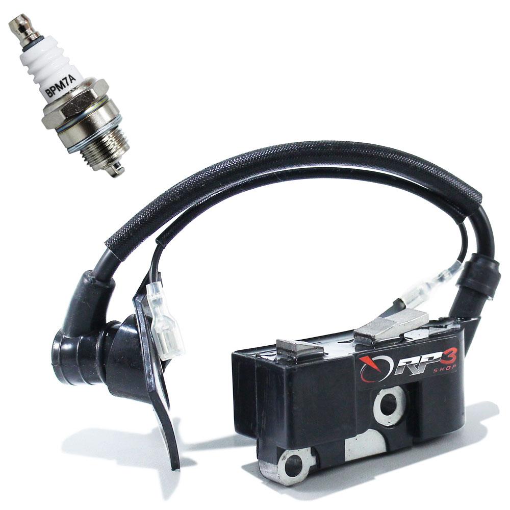 Bobina Modulo de Ignição + Vela Motosserra Kawashima 4516 / 5218 / CS 3800 / Cs 4500 / CS 5600 ou Motosserras Kawashima 45 cc / 52 cc / 58 cc