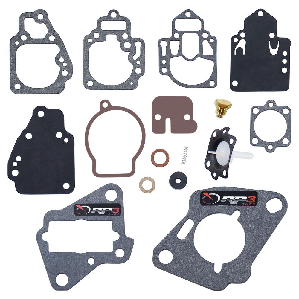 Kit de Reparo de Carburador (SEM BOIA)  Motor de Popa Mercury-Mariner 6 HP / 8 HP / 9.9 HP / 15 HP / 20 HP / 25 HP / 30 HP - APENAS motores AMERICANOS