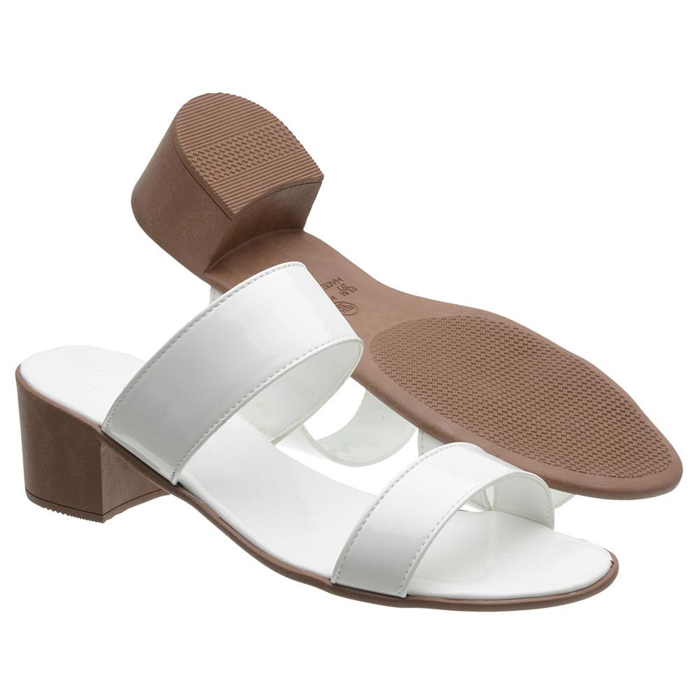 Sandália 3ls3 Salto Baixo Verniz Branca