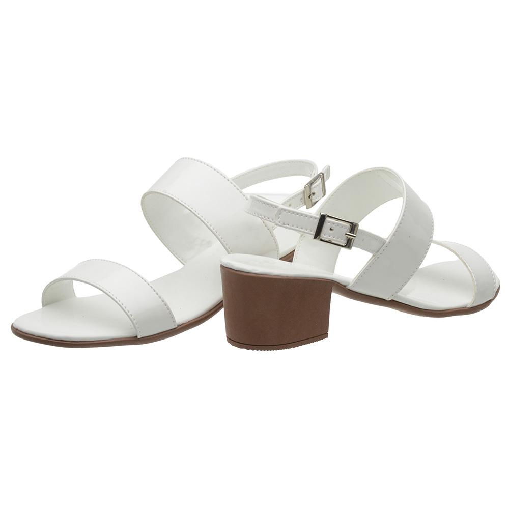 Sandália 3ls3 Salto Baixo Verniz Branco