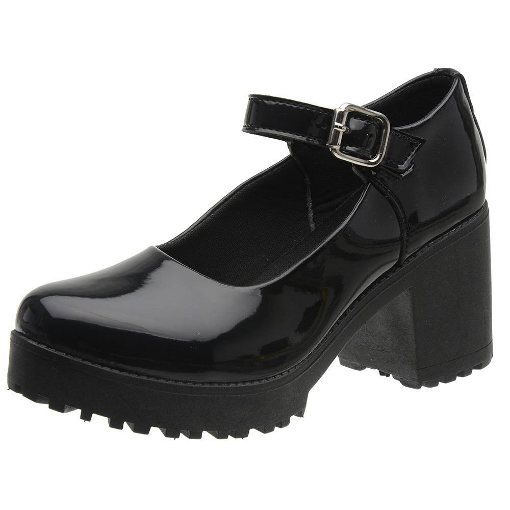 Sapato Mary Jane Feminino 3ls3 Preto Verniz