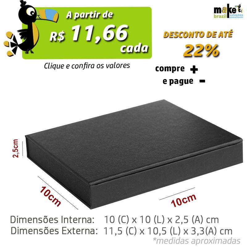 10 x 10 x 2,5cm - Caixa Premium Preta - Ref.025010