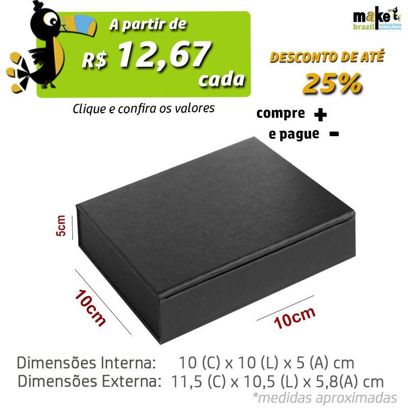10 x 10 x 5cm - Caixa Premium Preta - Ref.025030