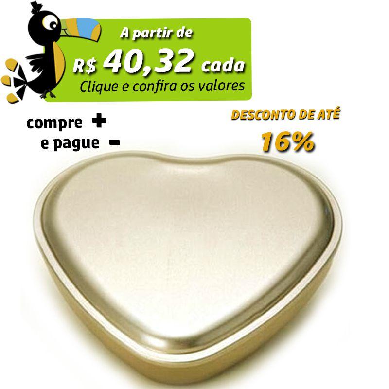19,6 x 21,5 x 4cm - Lata Coração Dourada - REF.0011000