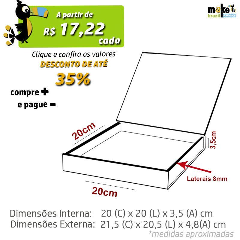20 x 20 x 3,5cm - Caixa Premium Branca - Ref.025111