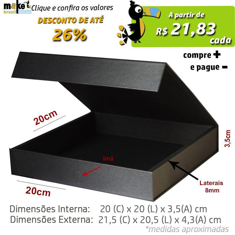 20 x 20 x 3,5CM - CAIXA PREMIUM MAGNÉTICA PRETA - REF.020120