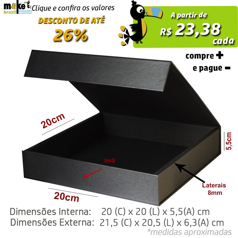 20 x 20 x 5,5CM - CAIXA PREMIUM MAGNÉTICA PRETA - REF.020130