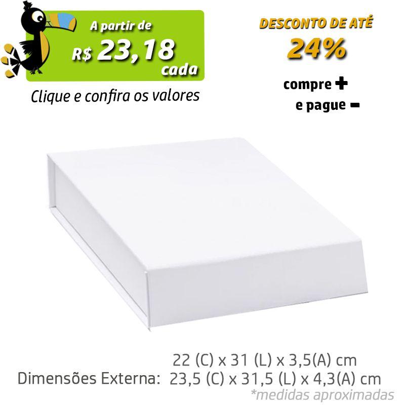 22 x 31 x 3,5CM - CAIXA PREMIUM MAGNÉTICA BRANCA - REF.020141