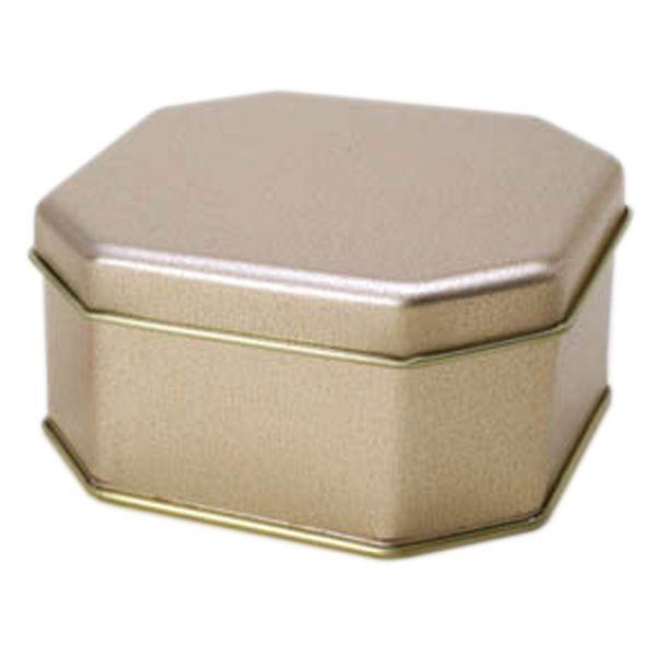 8,3 x 8,3 x 3,9cm - Lata Octagonal Dourada - REF.0010940