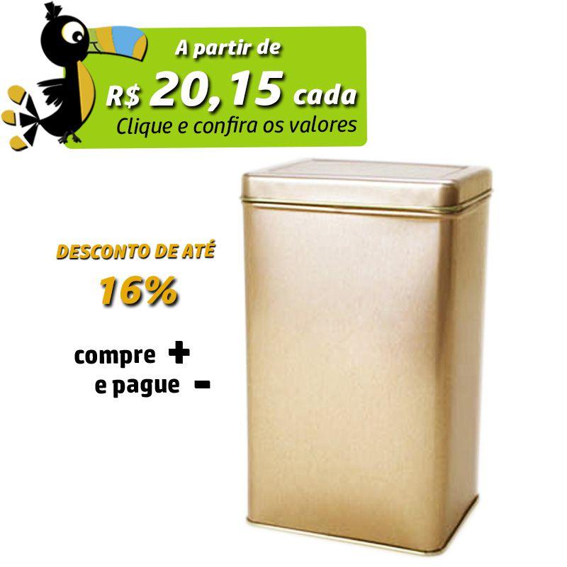 8,4 x 10,3 x 17cm - Lata Dourada - Ref.0010904