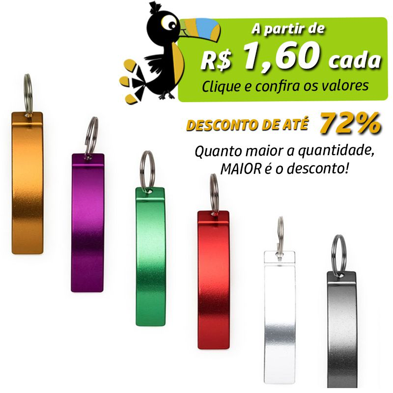 Abridor Curvo Chaveiro Colorido - Ref.0044106