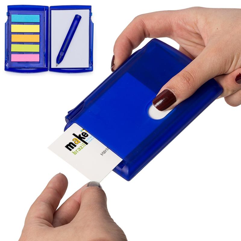 Porta Cartão de Visita com Post-It, Bloco e Caneta - Ref.0019085 - A partir de...