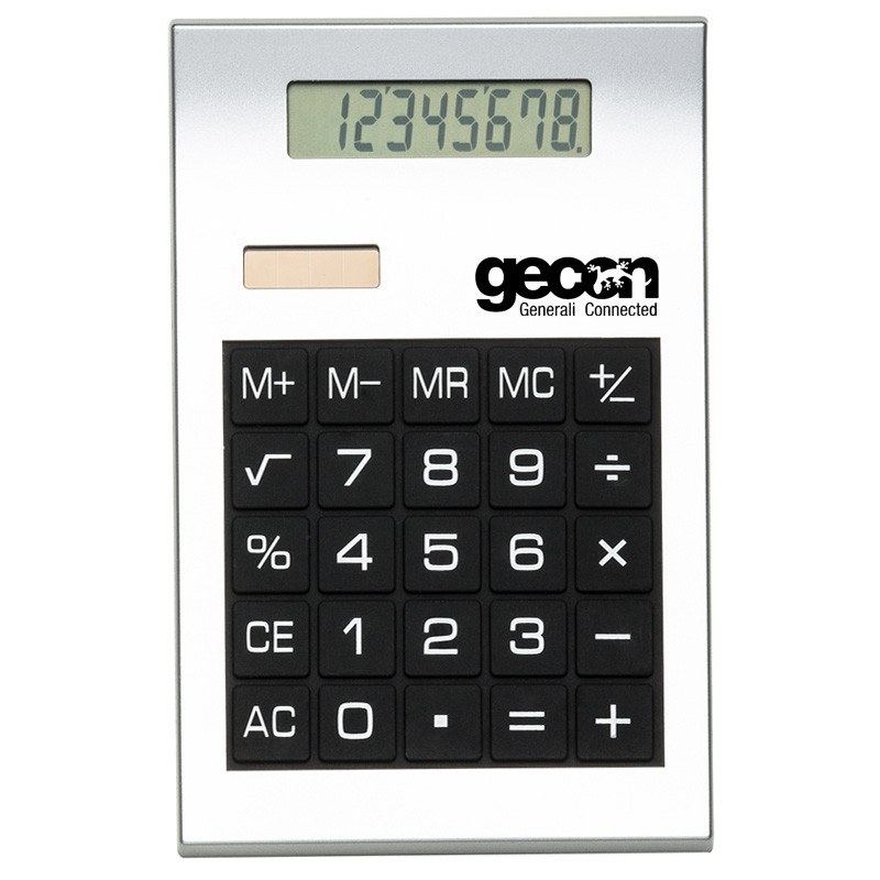 Calculadora plástica prata com borrachas anti-deslizantes Ref.0019200
