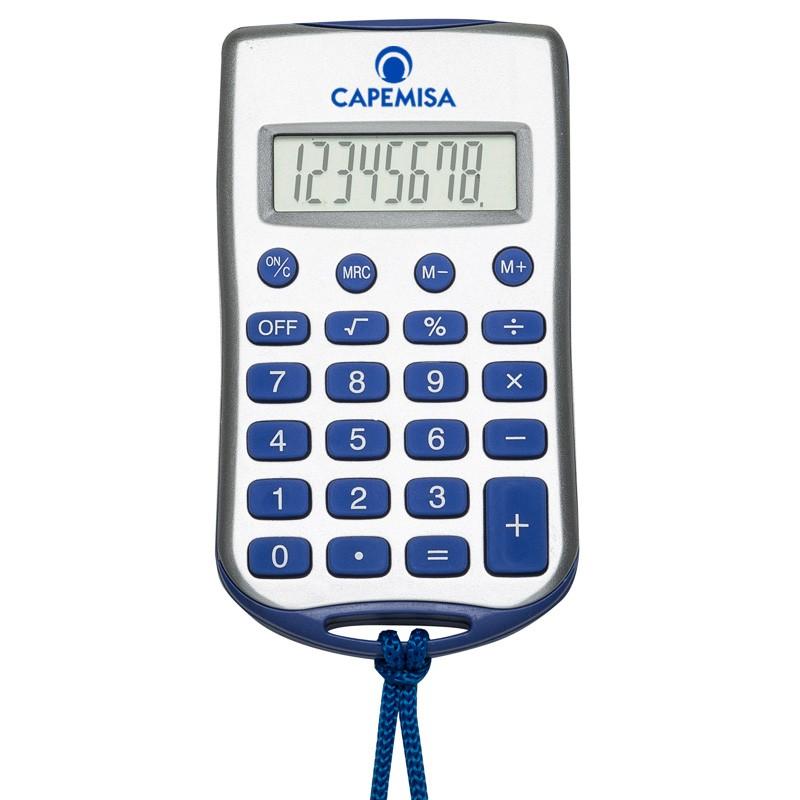 Calculadora plástica retangular prata com cordão - Ref.0019205
