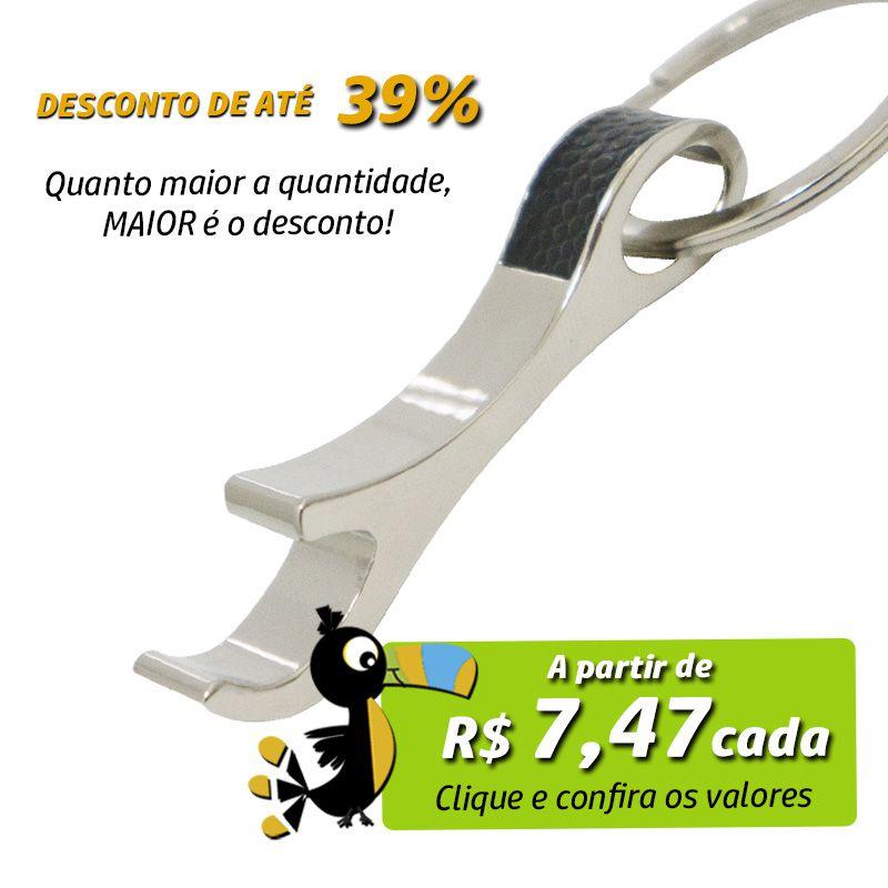 Chaveiro Abridor Curvo Detalhe Couro - Ref.0044060