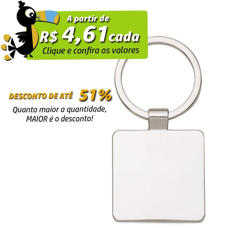 Chaveiro de Metal Quadrado  - Ref.0044094