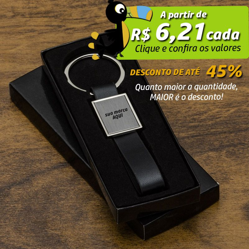 Chaveiro Metal Alça de Couro - Ref.0044048