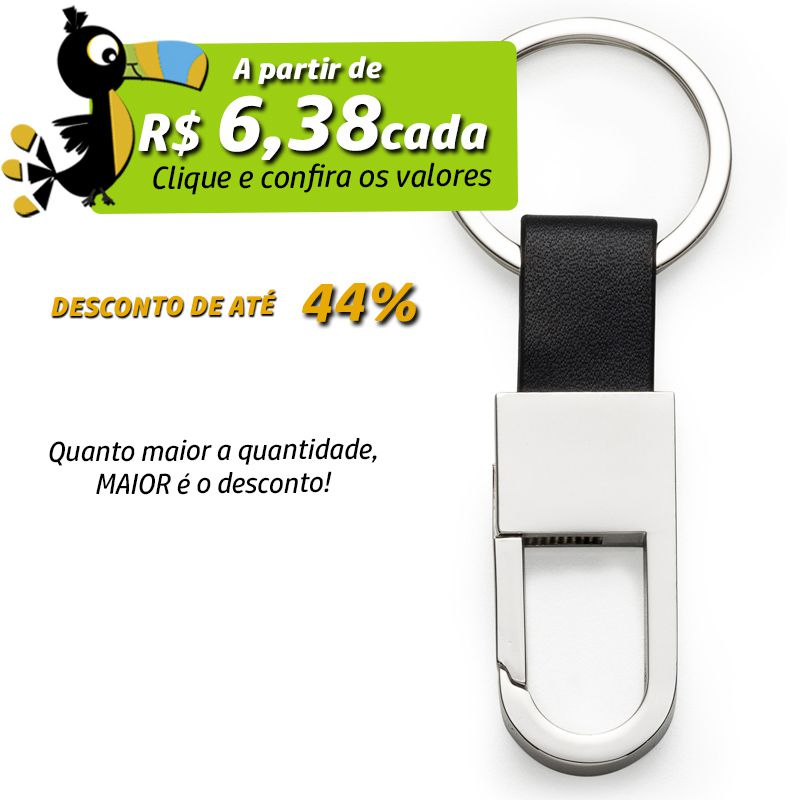 Chaveiro Mosquetão Metal Alça Couro - Ref.0044013